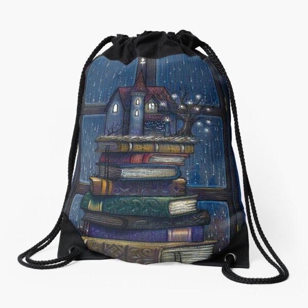 Books castle Drawstring Bag