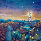 Roof cat and lighthouse by illustore