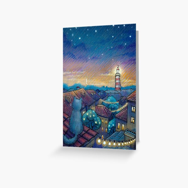 Roof cat and lighthouse Greeting Card