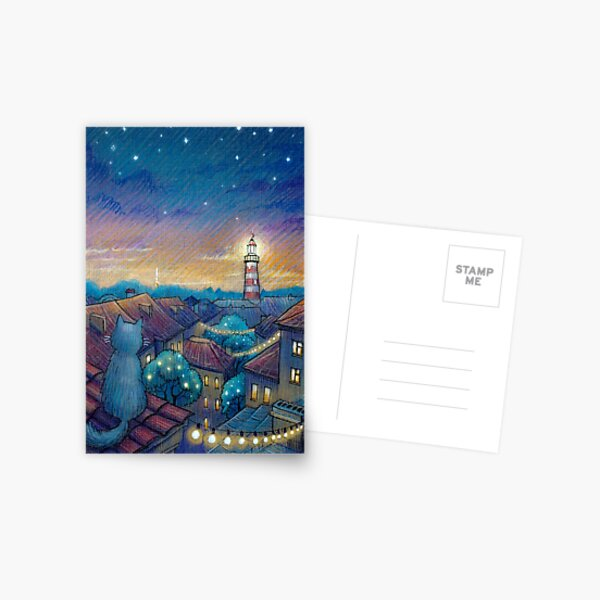 Roof cat and lighthouse Postcard