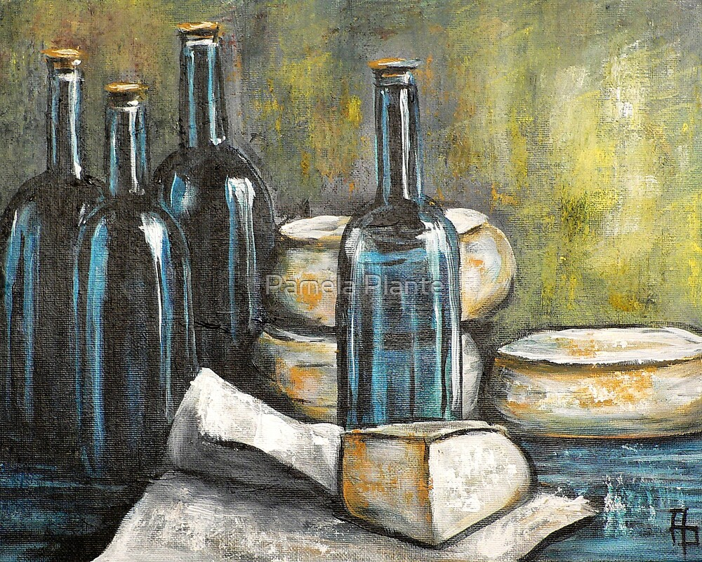 Wine Bottle Still life by Pamela Plante