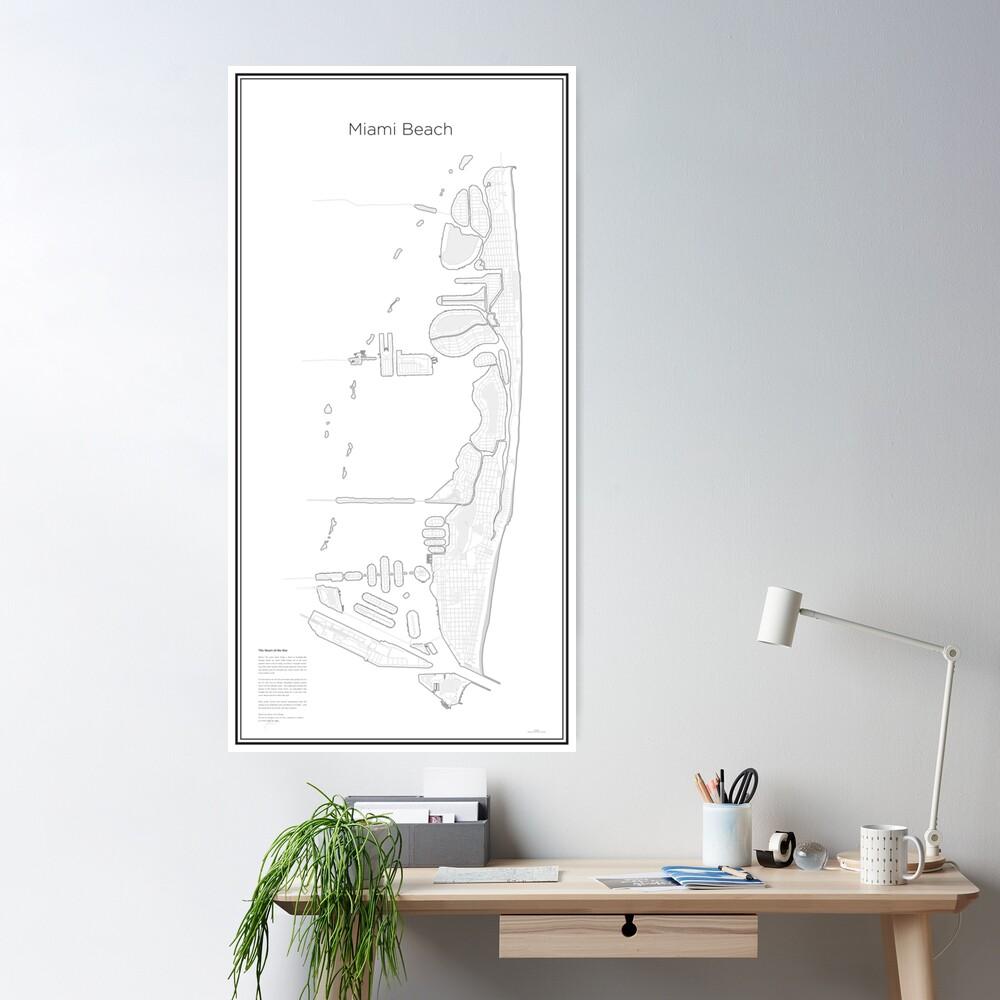 Illustrative Karte von Miami Beach (Guide) Poster