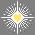Geometric heart pattern vector background. Yellow on grey. by ikshvaku