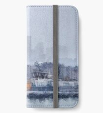 London - Canary Wharf in the fog  iPhone Wallet/Case/Skin