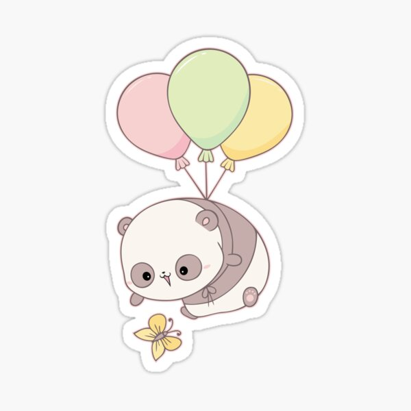 Flying panda and little butterfly Sticker