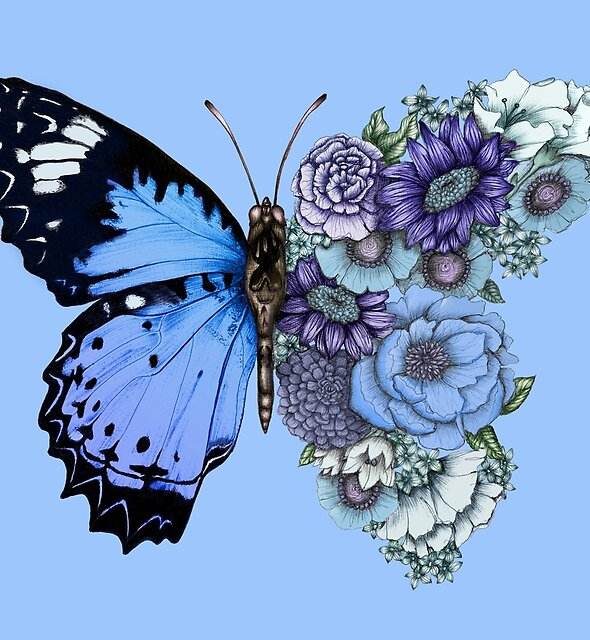 Blue Butterfly in Bloom  by ECMazur