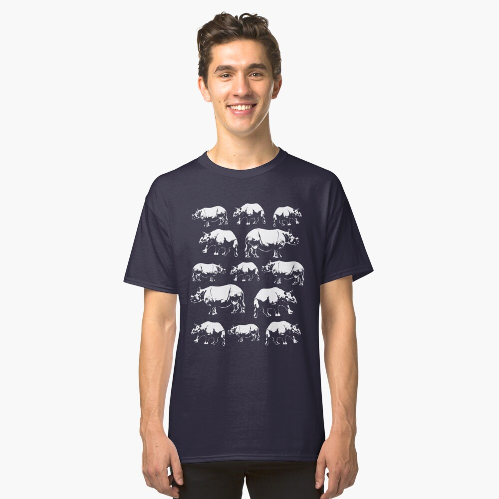 Indian Rhinoceros Design Classic T-Shirt Front