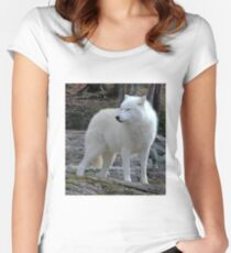 Arctic Wolf on the alert. Women's Fitted Scoop T-Shirt