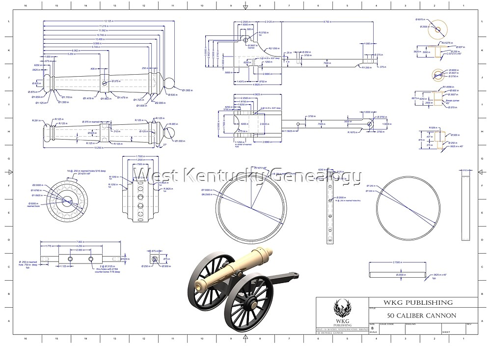 50 Caliber Cannon Blue Print by Don A. Howell
