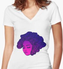 Sunset blooming  Women's Fitted V-Neck T-Shirt