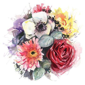 Watercolor flowers  by lamarmarina