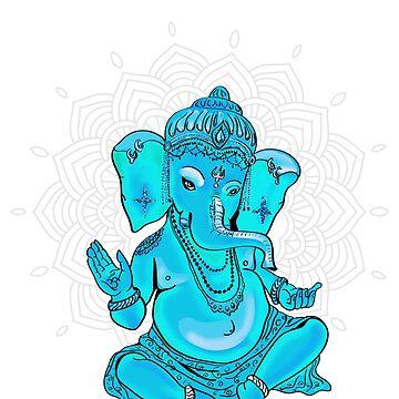 ganesha yoga buddha mandala india pattern elephant namaste meditation turquoise by originalstar