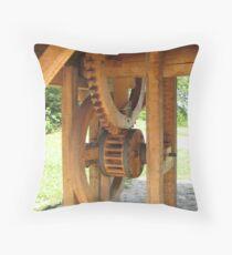 wooden well wheel Throw Pillow