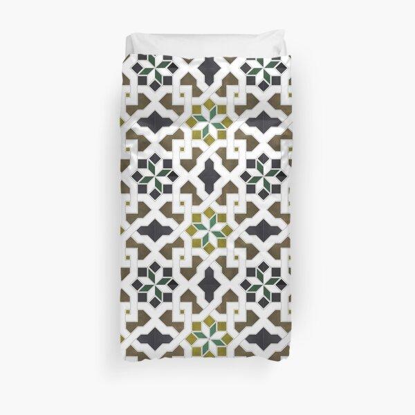 Oriental tile pattern - black, brown, white, morocco tile design 1x1 Duvet Cover