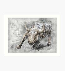 Bull angry stock market Art Print