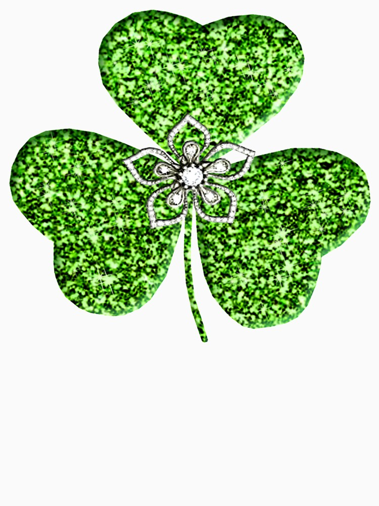 Faux Green Glitter Shamrock With A Flower  by Atteestude