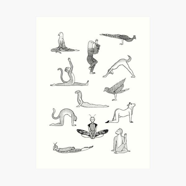 12 Yoga Animals - by Shamanthi Art Print