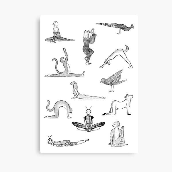 12 Yoga Animals - by Shamanthi Canvas Print