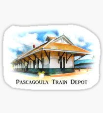 Pascagoula Train Depot - Rail Road - Historical Sticker