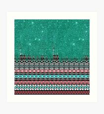 Pink and Teal Modern Aztec with Faux Teal Glitter Art Print