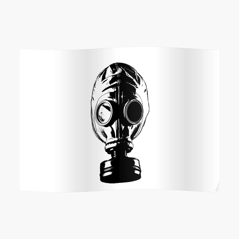 Gas mask ww1 style black and white more colours available poster