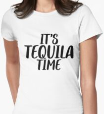 Tequila Time + Party Music Drinks Women's Fitted T-Shirt