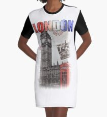 London Skyline Postcard Graphic T-Shirt Dress
