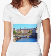 """Beautiful Copenhagen"", Photo / Digital Painting Women's Fitted V-Neck T-Shirt"