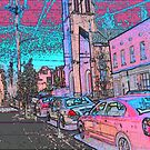 Market Street with Church and Cross by Deborah Dillehay