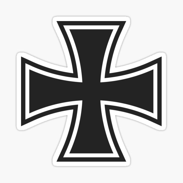 Large Front Print Iron cross Iron Cross Black Imperial Eagle T-Shirt