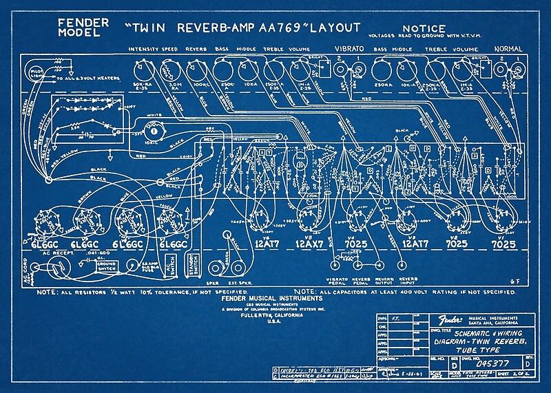 Fender Twin Reverb Amplifier Schematics Blueprint | Art Print on