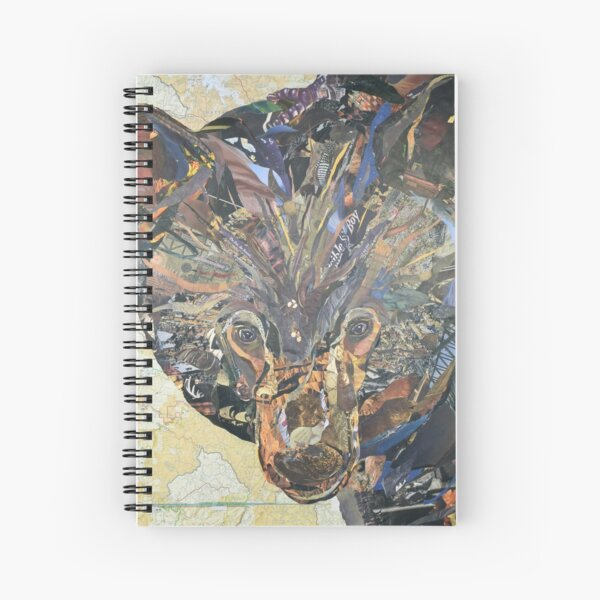 Black Bear Collage by C.E. White Spiral Notebook