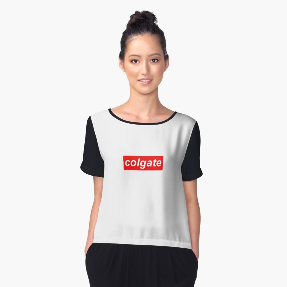 Poor mans Supreme, Colgate logo Women's Chiffon Top Front