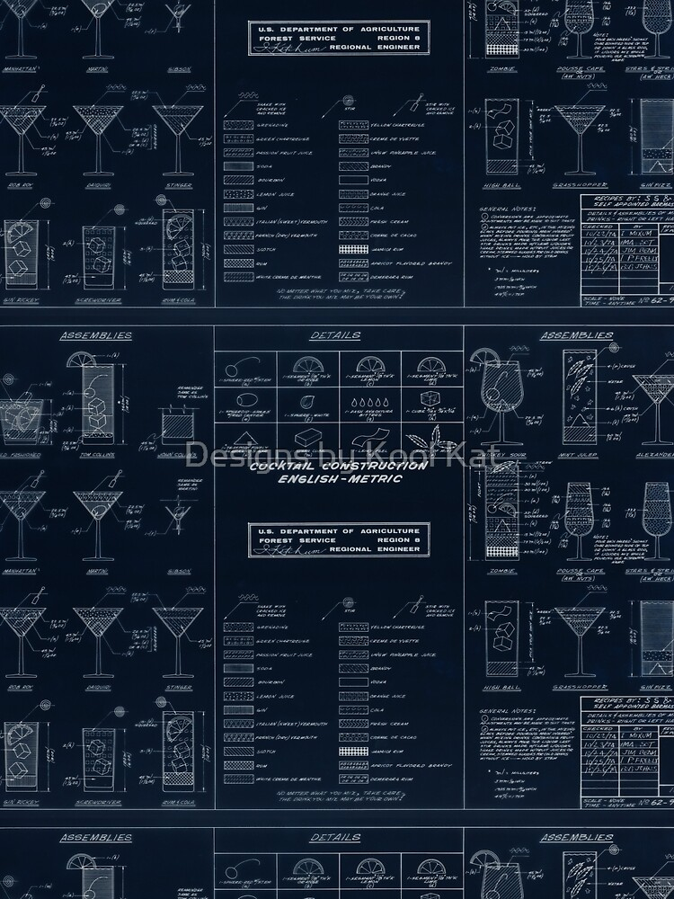 Cocktail Construction Chart Blueprint Version By United States