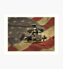 Off to War (American Flag) Art Print