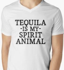 Tequila Is My Spirit Animal + Party Music Drinks Men's V-Neck T-Shirt