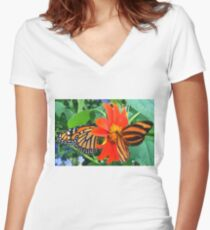 """""""Double Butterfly Love"""", Photo / Digital Painting Women's Fitted V-Neck T-Shirt"""
