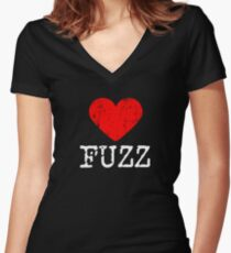 Heart Fuzz | Love Fuzz Women's Fitted V-Neck T-Shirt