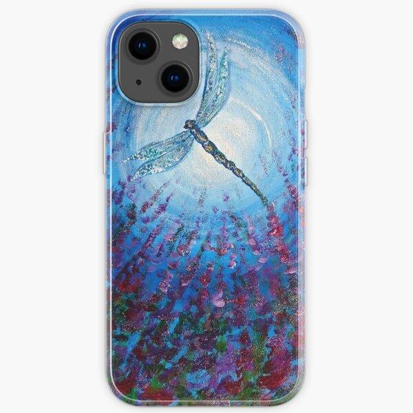 Dark Flower Dragonfly Moon iPhone Soft Case
