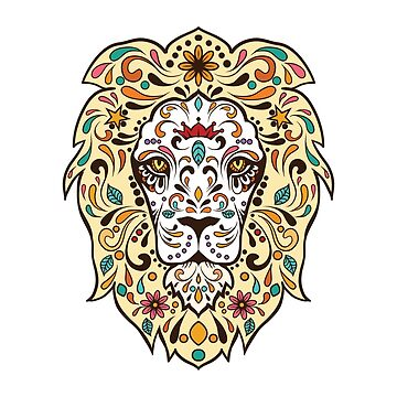 Lion Sugar Skull Mandala by inkwear