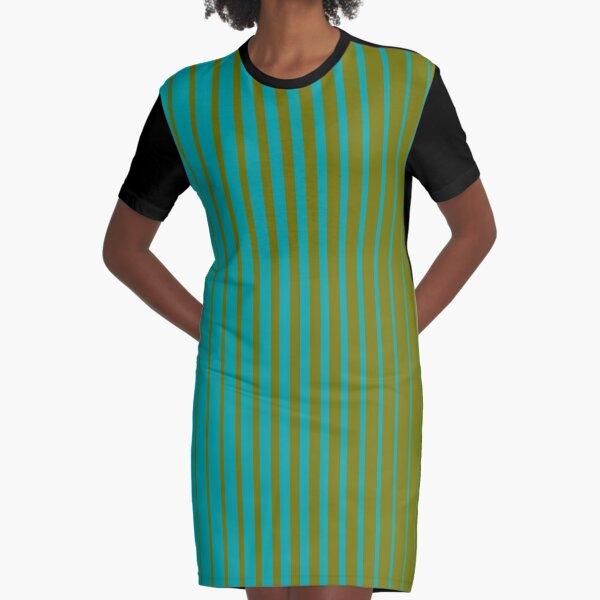 gradient stripes pattern (mix & match aqua / olive)  Graphic T-Shirt Dress