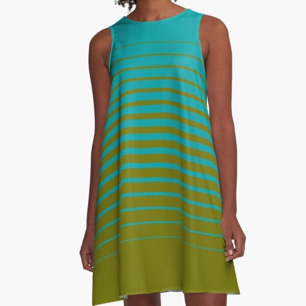 gradient stripes pattern (mix & match aqua / olive)  A-Line Dress