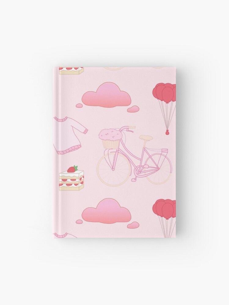 Pastel Pink Aesthetic Stickers Pattern Hardcover Journal