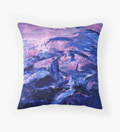 Night waves acrylic painting Throw Pillow