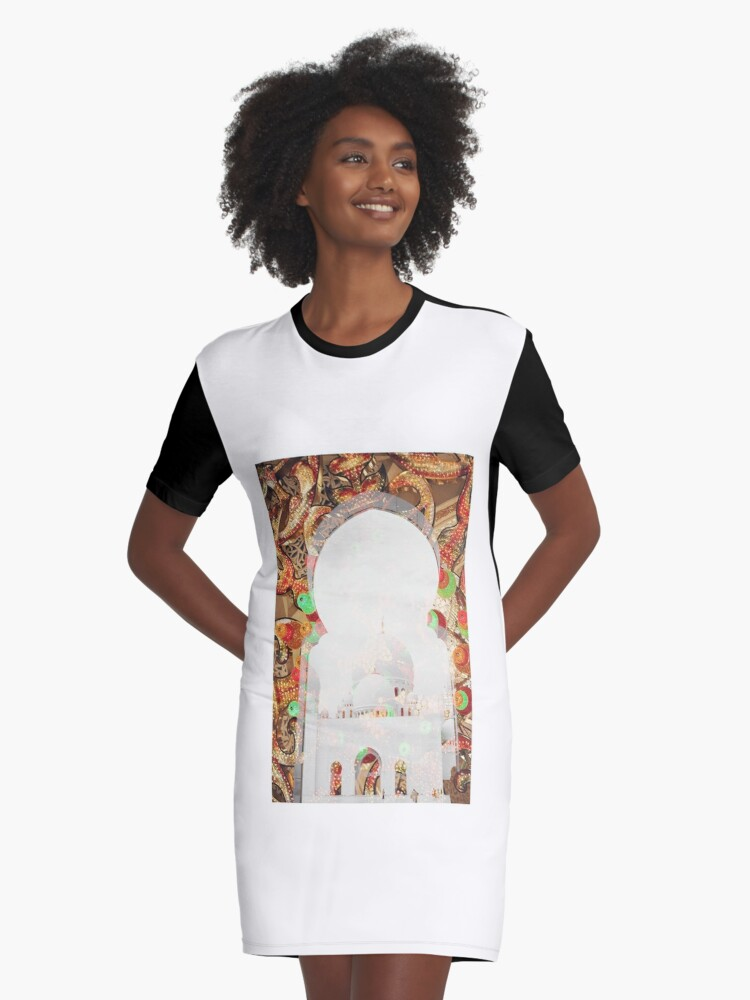 Sheikh Zayed Grand Mosque,  collage Graphic T-Shirt Dress Front