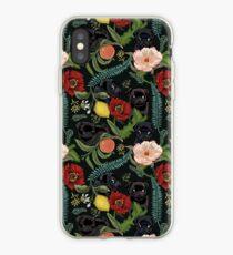 Botanical and Black Pugs iPhone Case