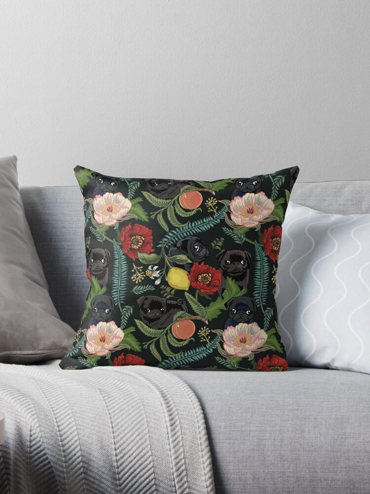 Botanical and Black Pugs by Huebucket