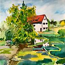 Traditional German farmhouse and ponds by DucatiCatArt