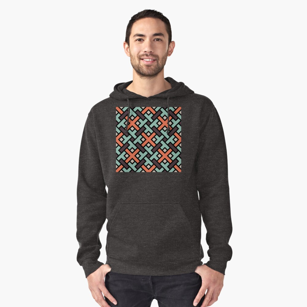 Geometric Pattern: Weave: Red/Green Pullover Hoodie Front