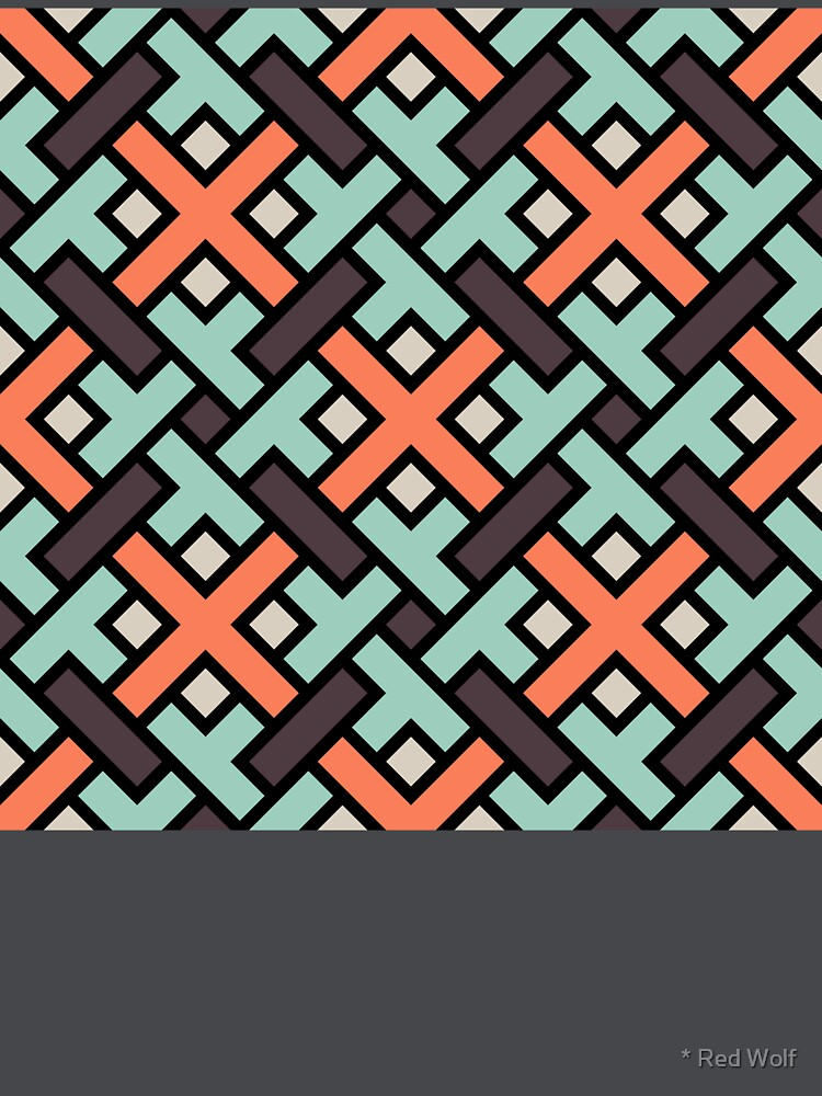 Geometric Pattern: Weave: Red/Green by redwolfoz